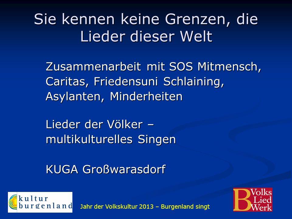 Jahr der Volkskultur 2013 – Burgenland singt Sie kennen keine Grenzen, die Lieder dieser Welt Zusammenarbeit mit SOS Mitmensch, Caritas, Friedensuni S