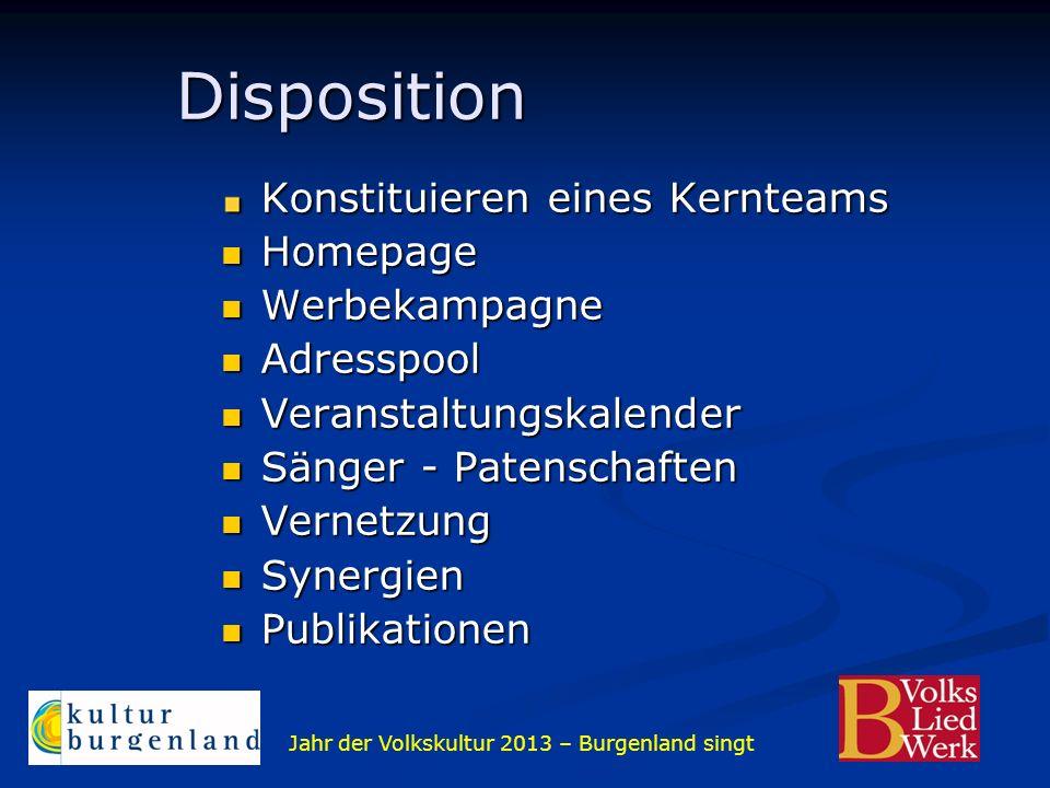 Jahr der Volkskultur 2013 – Burgenland singt Disposition Disposition Konstituieren eines Kernteams Homepage Homepage Werbekampagne Werbekampagne Adres