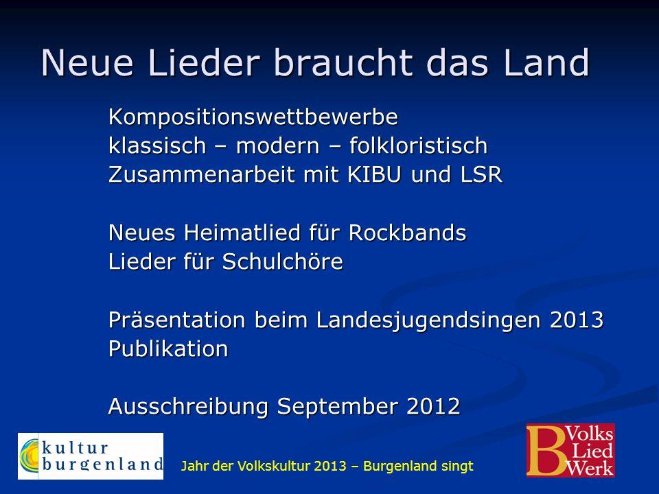 Jahr der Volkskultur 2013 – Burgenland singt Neue Lieder braucht das Land Kompositionswettbewerbe klassisch – modern – folkloristisch Zusammenarbeit m