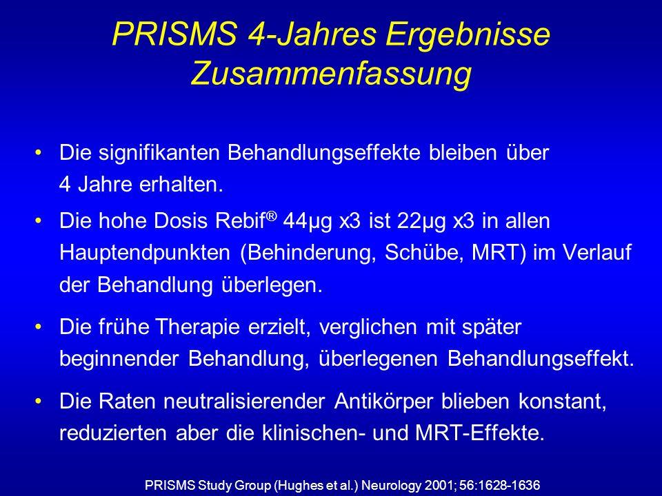 Die signifikanten Behandlungseffekte bleiben über 4 Jahre erhalten. Die hohe Dosis Rebif ® 44µg x3 ist 22µg x3 in allen Hauptendpunkten (Behinderung,