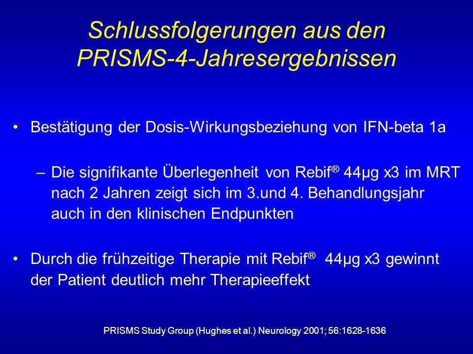 Bestätigung der Dosis-Wirkungsbeziehung von IFN-beta 1a –Die signifikante Überlegenheit von Rebif ® 44µg x3 im MRT nach 2 Jahren zeigt sich im 3.und 4