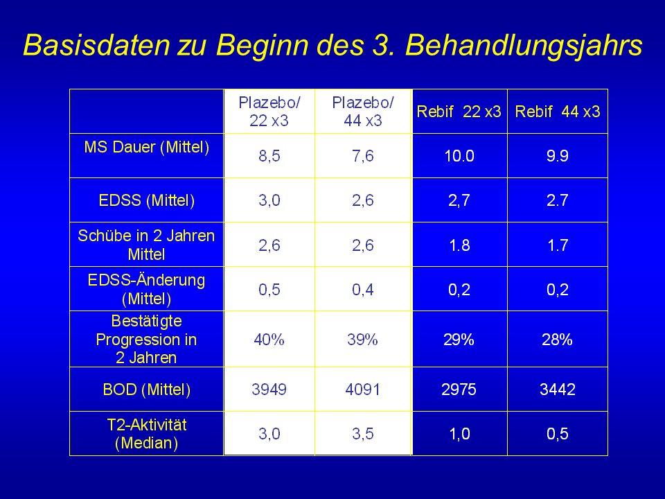 Basisdaten zu Beginn des 3. Behandlungsjahrs