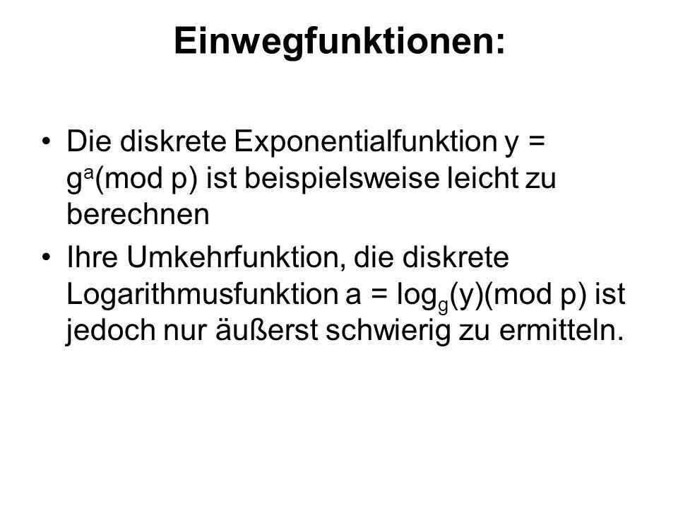 Einwegfunktionen: Die diskrete Exponentialfunktion y = g a (mod p) ist beispielsweise leicht zu berechnen Ihre Umkehrfunktion, die diskrete Logarithmusfunktion a = log g (y)(mod p) ist jedoch nur äußerst schwierig zu ermitteln.
