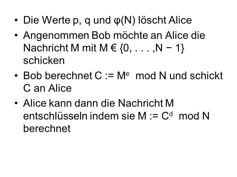 Die Werte p, q und φ(N) löscht Alice Angenommen Bob möchte an Alice die Nachricht M mit M {0,...,N 1} schicken Bob berechnet C := M e mod N und schickt C an Alice Alice kann dann die Nachricht M entschlüsseln indem sie M := C d mod N berechnet