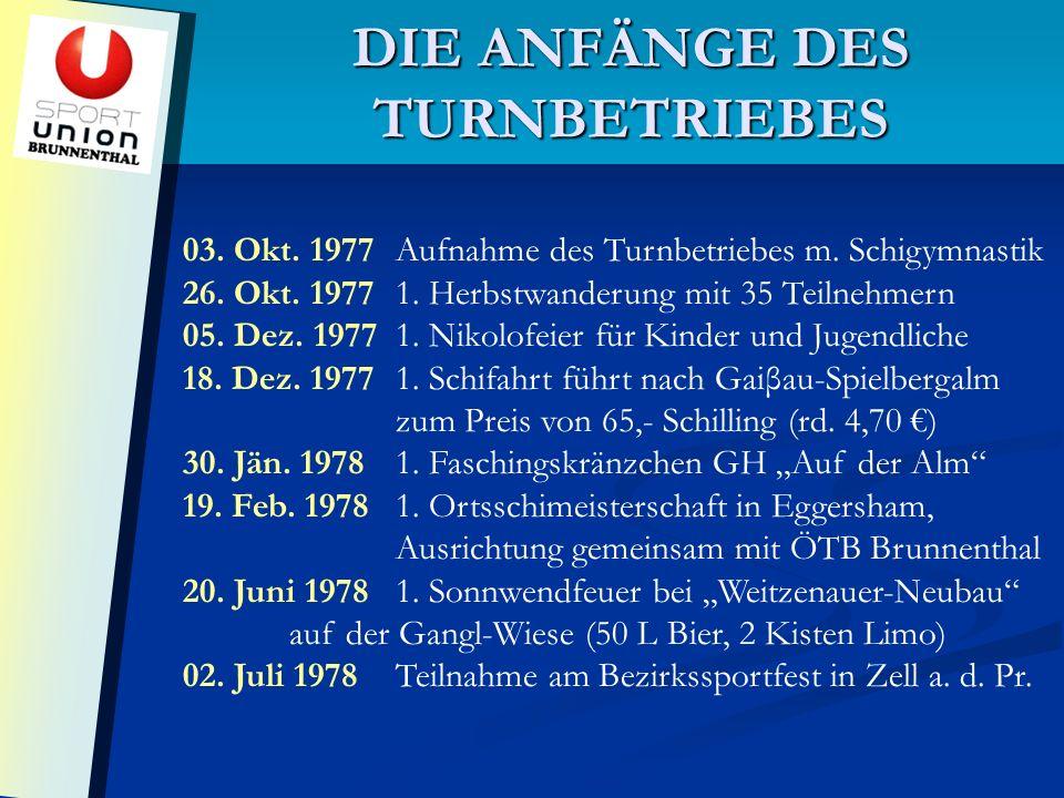 DIE ANFÄNGE DES TURNBETRIEBES 03. Okt. 1977Aufnahme des Turnbetriebes m.