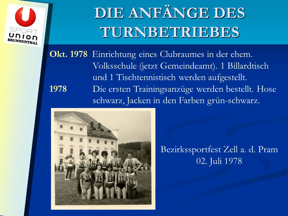 DIE ANFÄNGE DES TURNBETRIEBES Okt. 1978 Einrichtung eines Clubraumes in der ehem.