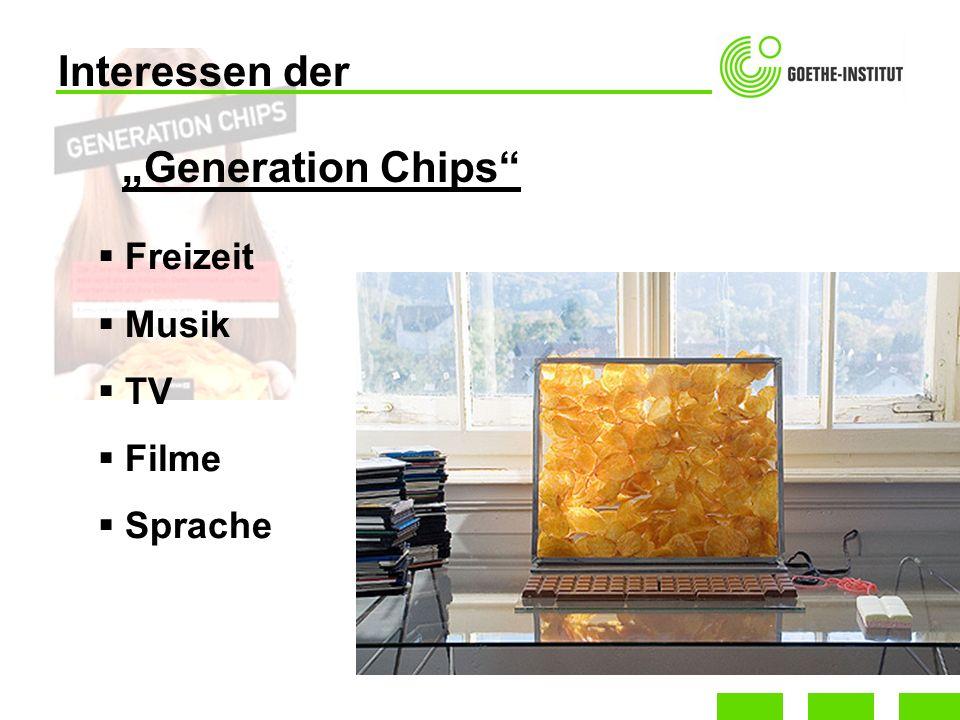 Interessen der Freizeit Musik TV Filme Sprache Generation Chips
