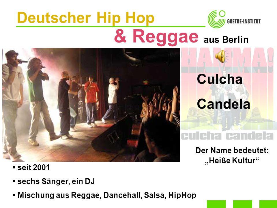 Deutscher Hip Hop & Reggae seit 2001 sechs Sänger, ein DJ Mischung aus Reggae, Dancehall, Salsa, HipHop Culcha Candela aus Berlin Der Name bedeutet: H