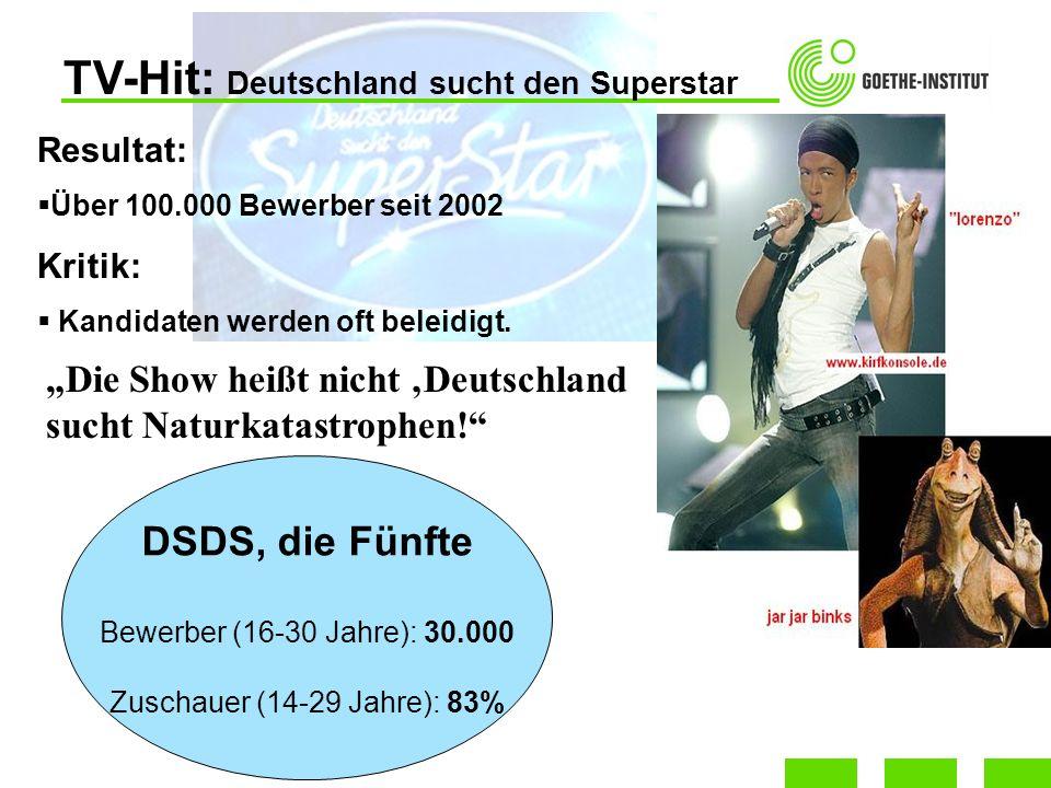 TV-Hit: Deutschland sucht den Superstar DSDS, die Fünfte Bewerber (16-30 Jahre): 30.000 Zuschauer (14-29 Jahre): 83% Resultat: Über 100.000 Bewerber s