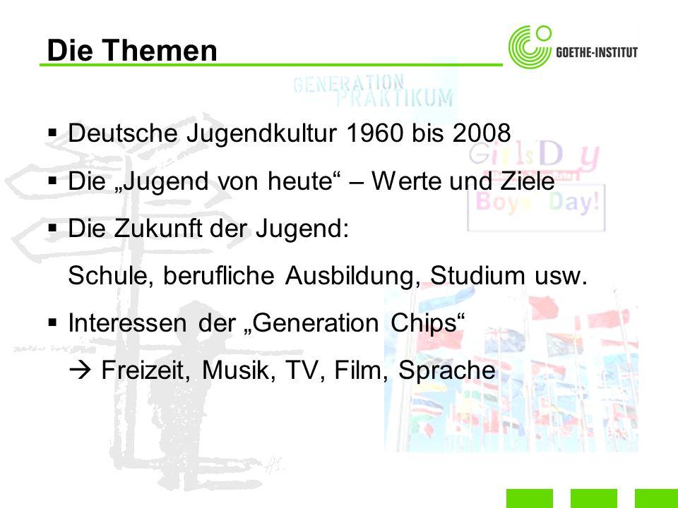 Deutsche Jugendkultur 1960 bis 2008 Die Jugend von heute – Werte und Ziele Die Zukunft der Jugend: Schule, berufliche Ausbildung, Studium usw. Interes