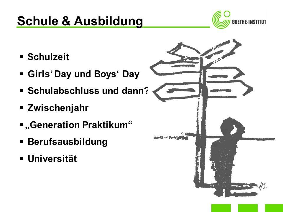 Schulzeit Girls Day und Boys Day Schulabschluss und dann? Zwischenjahr Generation Praktikum Berufsausbildung Universität Schule & Ausbildung