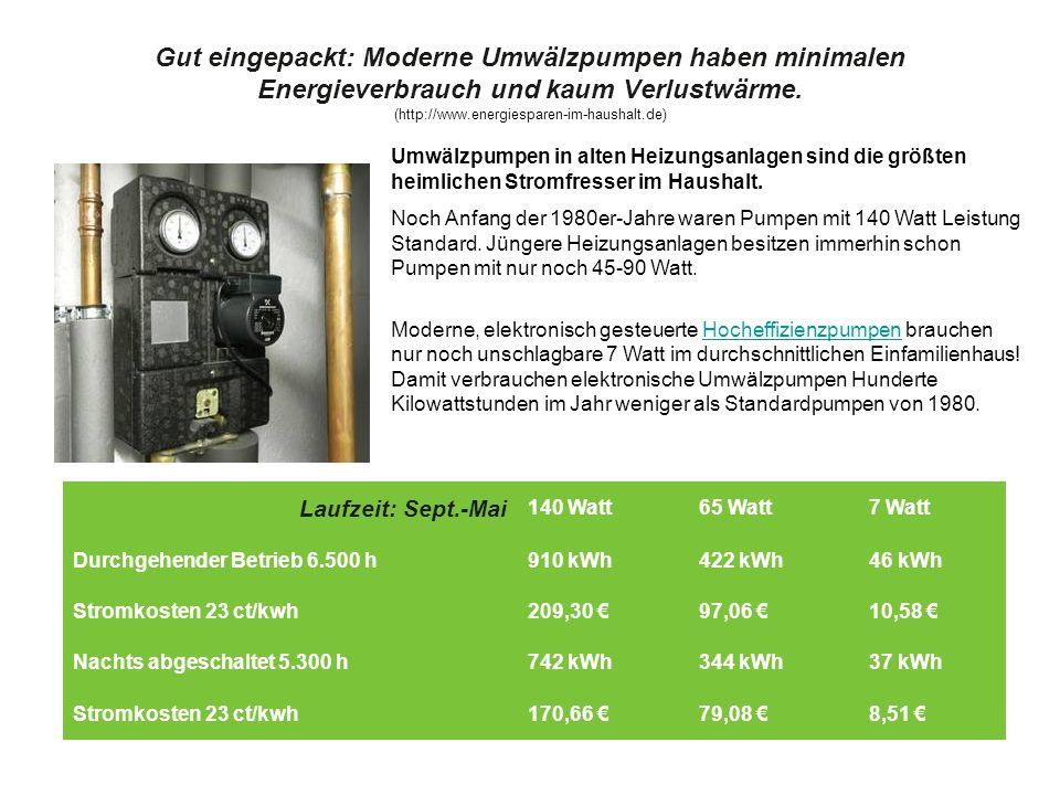 Gut eingepackt: Moderne Umwälzpumpen haben minimalen Energieverbrauch und kaum Verlustwärme. (http://www.energiesparen-im-haushalt.de) Laufzeit: Sept.