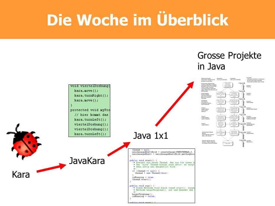 Die Woche im Überblick Kara JavaKara Java 1x1 Grosse Projekte in Java