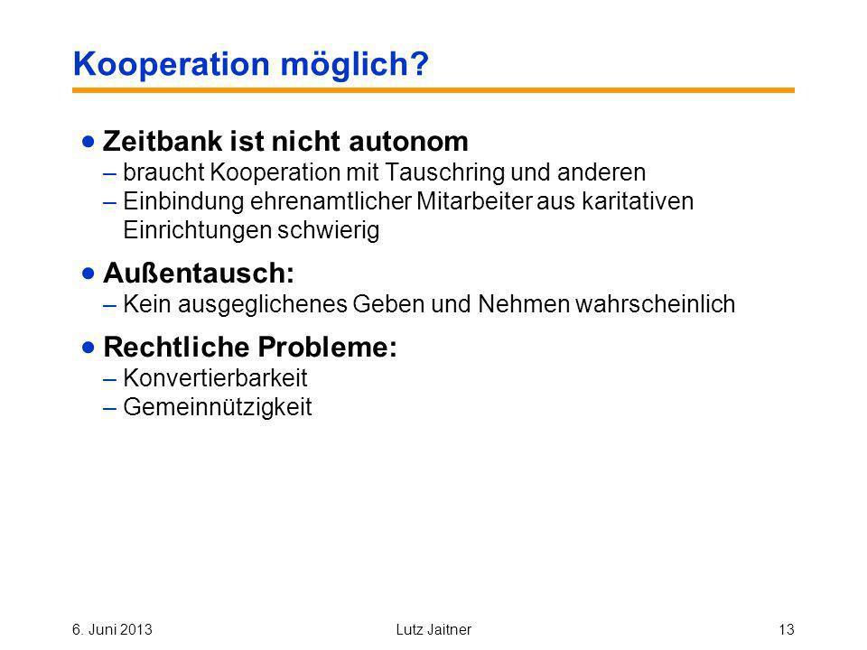 6. Juni 2013Lutz Jaitner13 Kooperation möglich.