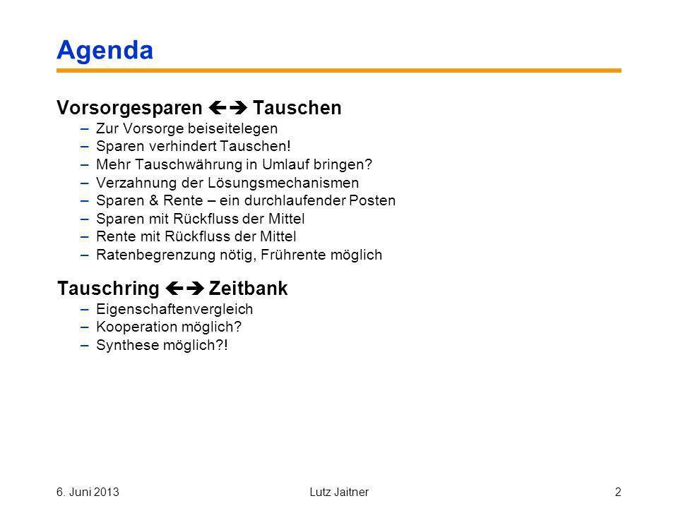 6. Juni 2013Lutz Jaitner2 Agenda Vorsorgesparen Tauschen –Zur Vorsorge beiseitelegen –Sparen verhindert Tauschen! –Mehr Tauschwährung in Umlauf bringe
