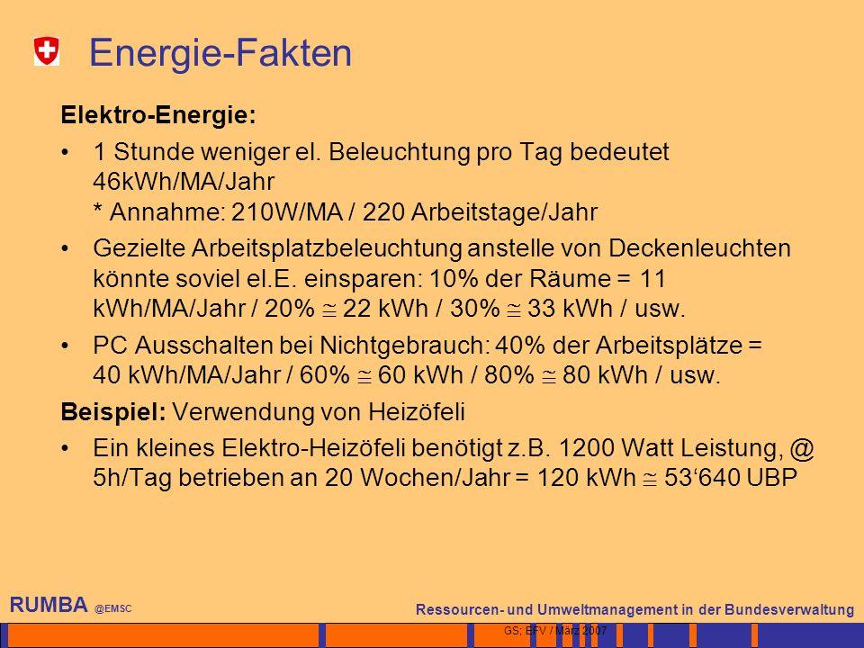 2 Ressourcen- und Umweltmanagement in der Bundesverwaltung RUMBA @EMSC GS; EFV / März 2007 Energie-Fakten Elektro-Energie: 1 Stunde weniger el.