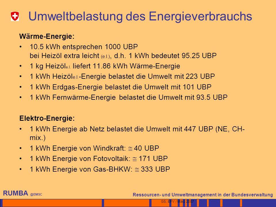 4 Ressourcen- und Umweltmanagement in der Bundesverwaltung RUMBA @EMSC GS; EFV / März 2007 Umweltbelastung des Energieverbrauchs Wärme-Energie: 10.5 kWh entsprechen 1000 UBP bei Heizöl extra leicht (e.l.), d.h.