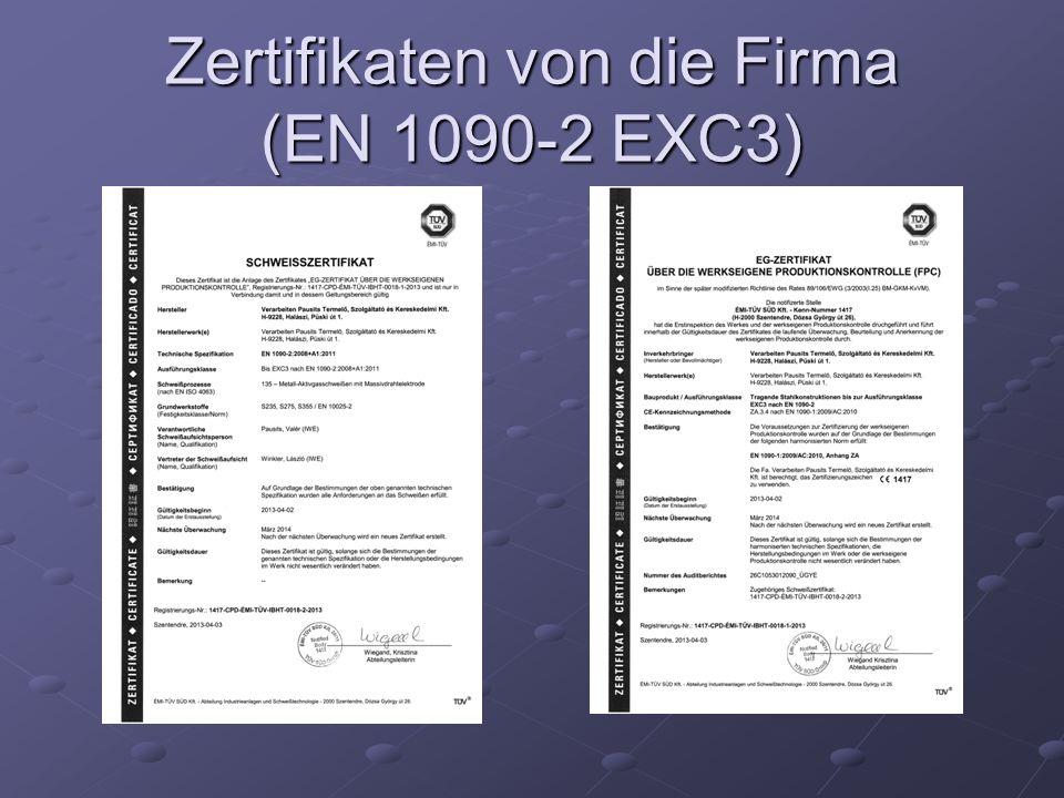 Zertifikaten von die Firma (EN 1090-2 EXC3)