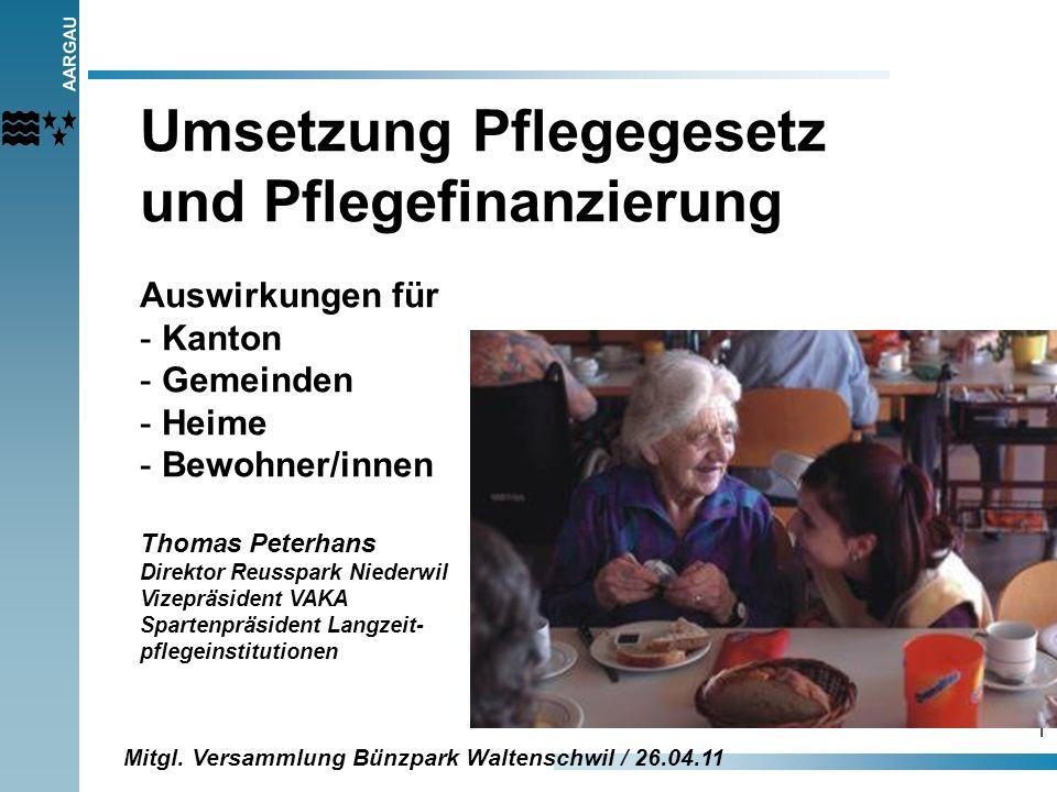 AARGAU 1 Umsetzung Pflegegesetz und Pflegefinanzierung Auswirkungen für - Kanton - Gemeinden - Heime - Bewohner/innen Thomas Peterhans Direktor Reussp