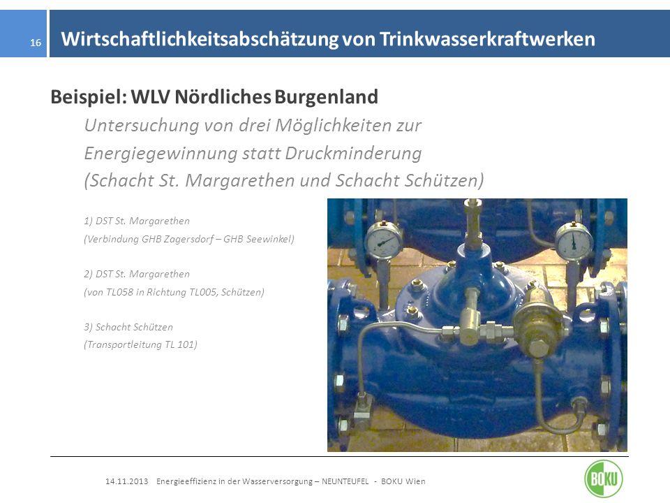Wirtschaftlichkeitsabschätzung von Trinkwasserkraftwerken 14.11.2013 Energieeffizienz in der Wasserversorgung – NEUNTEUFEL - BOKU Wien 16 Beispiel: WL