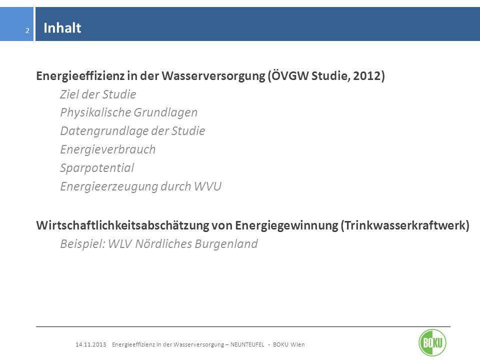 Inhalt 14.11.2013 Energieeffizienz in der Wasserversorgung – NEUNTEUFEL - BOKU Wien 2 Energieeffizienz in der Wasserversorgung (ÖVGW Studie, 2012) Zie