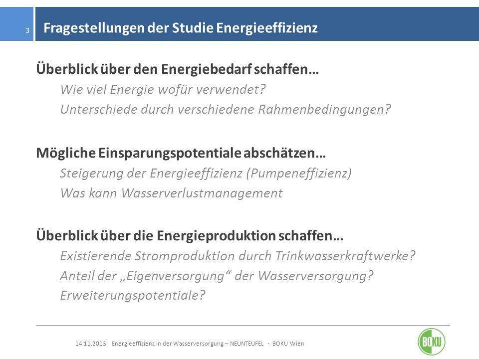 Fragestellungen der Studie Energieeffizienz 14.11.2013 Energieeffizienz in der Wasserversorgung – NEUNTEUFEL - BOKU Wien 3 Überblick über den Energieb