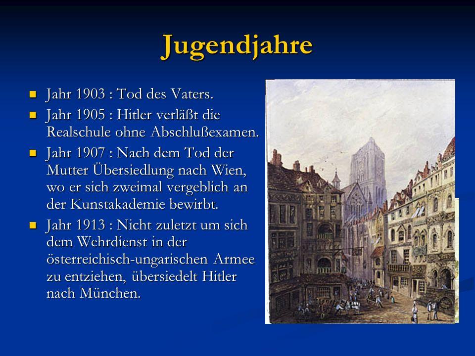 Kindheit 20. April 1889 : Adolf Hitler wird als Sohn des Zollbeamten Alois Hitler und seiner Frau Clara in Braunau am Inn (Oberösterreich) geboren. 20