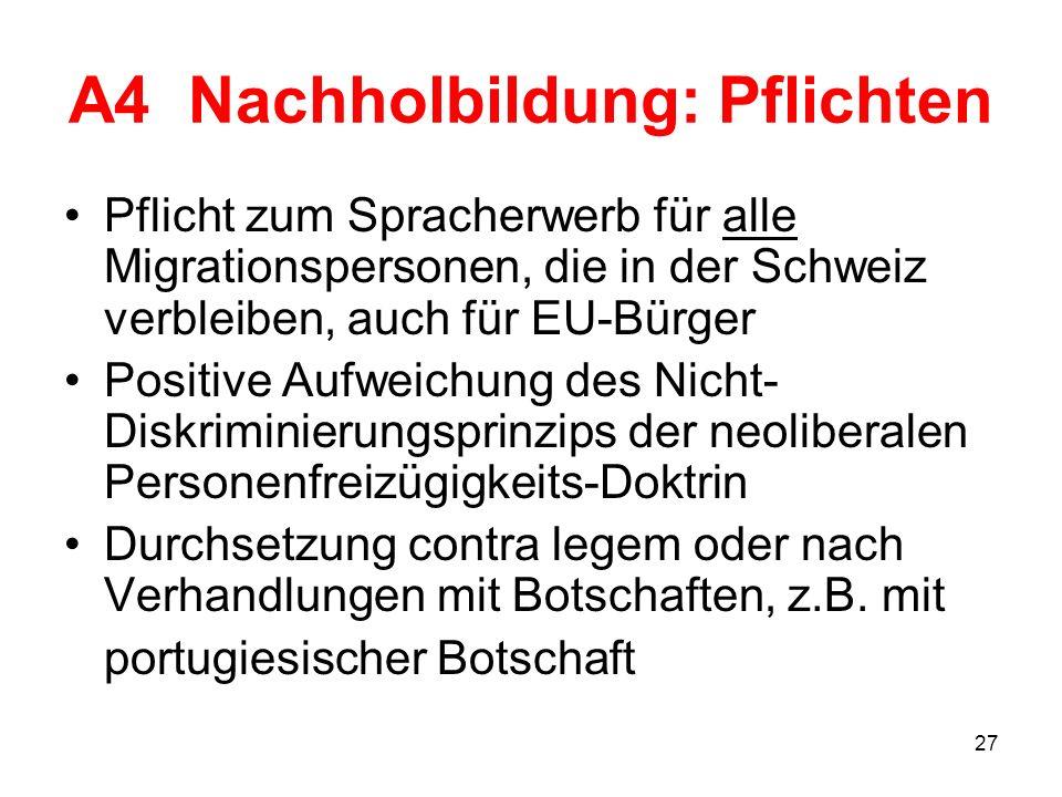 27 A4 Nachholbildung: Pflichten Pflicht zum Spracherwerb für alle Migrationspersonen, die in der Schweiz verbleiben, auch für EU-Bürger Positive Aufwe