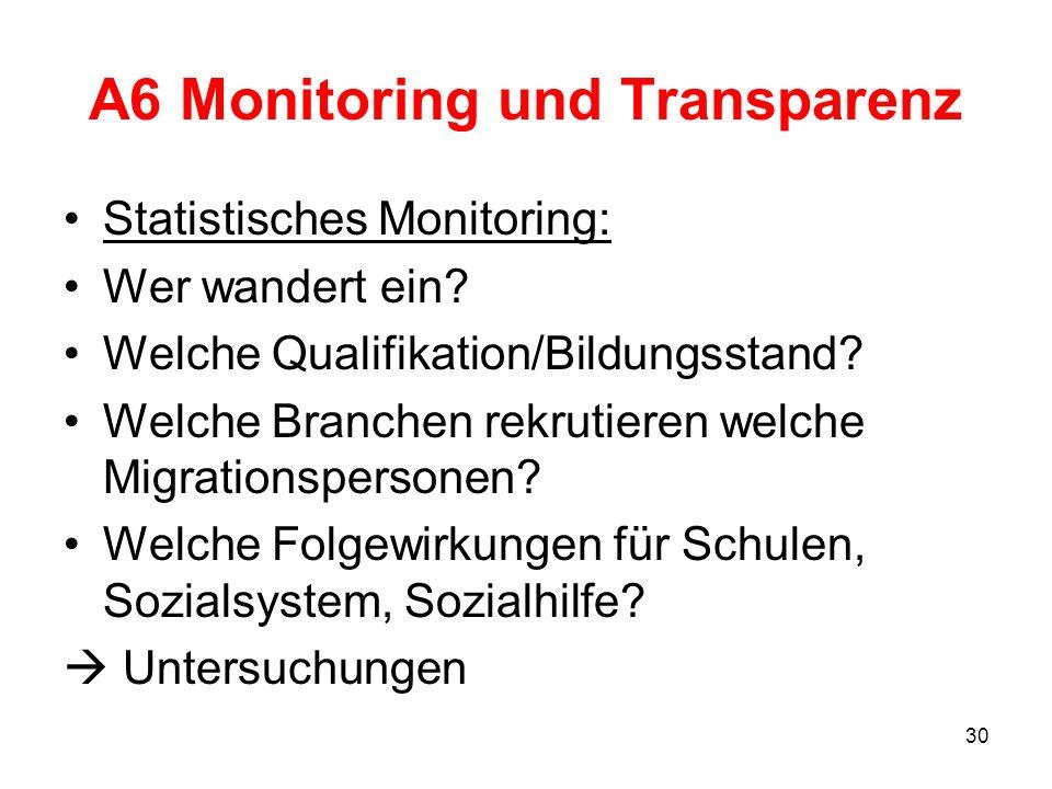 30 A6 Monitoring und Transparenz Statistisches Monitoring: Wer wandert ein? Welche Qualifikation/Bildungsstand? Welche Branchen rekrutieren welche Mig