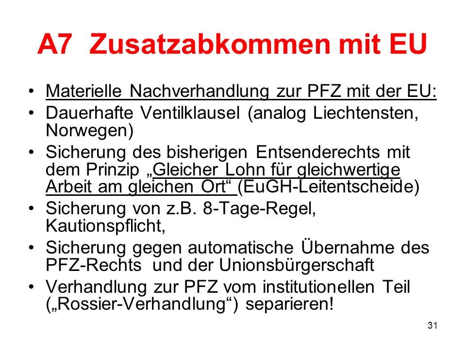 31 A7 Zusatzabkommen mit EU Materielle Nachverhandlung zur PFZ mit der EU: Dauerhafte Ventilklausel (analog Liechtensten, Norwegen) Sicherung des bish