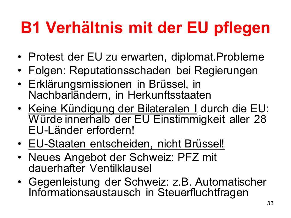 33 B1 Verhältnis mit der EU pflegen Protest der EU zu erwarten, diplomat.Probleme Folgen: Reputationsschaden bei Regierungen Erklärungsmissionen in Br
