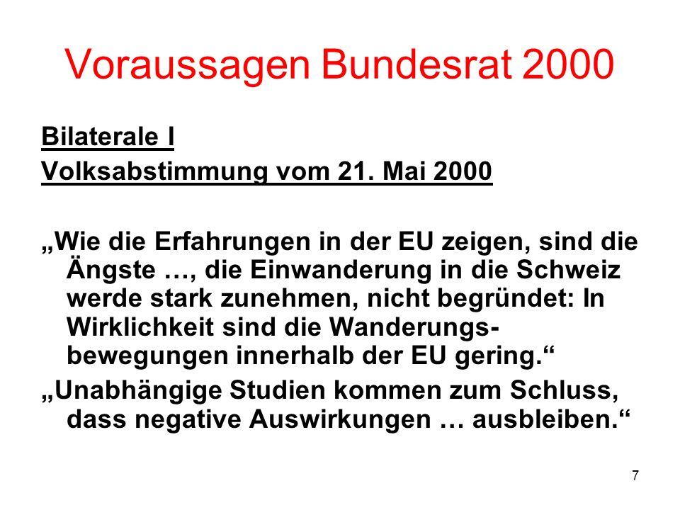 7 Voraussagen Bundesrat 2000 Bilaterale I Volksabstimmung vom 21. Mai 2000 Wie die Erfahrungen in der EU zeigen, sind die Ängste …, die Einwanderung i