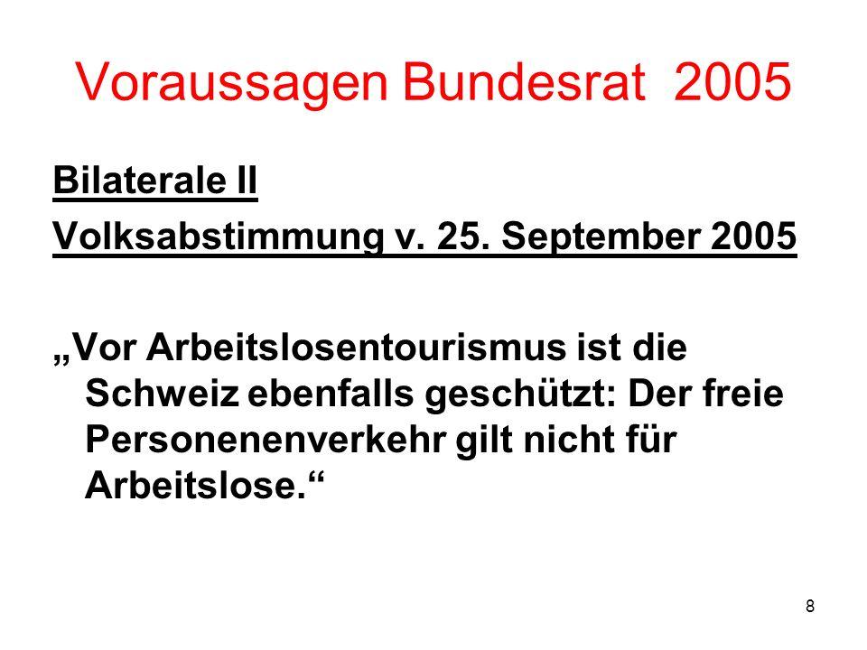 8 Voraussagen Bundesrat 2005 Bilaterale II Volksabstimmung v. 25. September 2005 Vor Arbeitslosentourismus ist die Schweiz ebenfalls geschützt: Der fr
