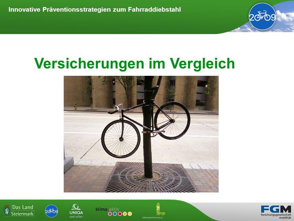 Innovative Präventionsstrategien zum Fahrraddiebstahl WS 3 - Versicherungsmodelle Fahrraddiebstahlversicherungen von Organisationen oder Vereinen Besonderheiten: Auch für gebrauchte Räder möglich.