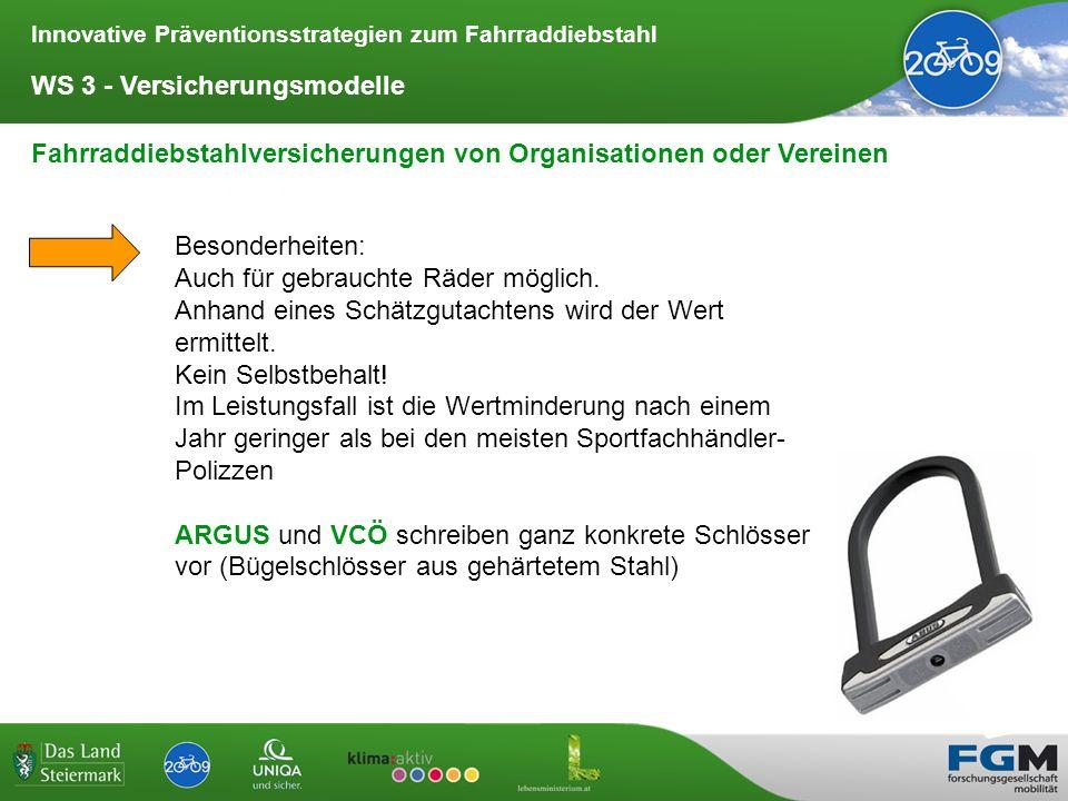Innovative Präventionsstrategien zum Fahrraddiebstahl WS 3 - Versicherungsmodelle Fahrraddiebstahlversicherungen von Organisationen oder Vereinen Beso