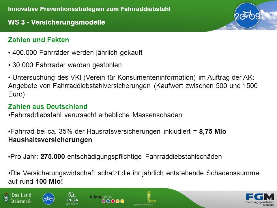 Innovative Präventionsstrategien zum Fahrraddiebstahl WS 3 - Versicherungsmodelle Fahrradkennzeichen in der Schweiz Fahrradkennzeichen in der Schweiz ist kein amtliches Kennzeichen, sondern eine Versicherungsplakette.