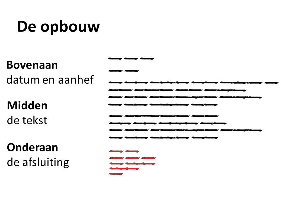 De opbouw Bovenaan datum en aanhef Midden de tekst Onderaan de afsluiting