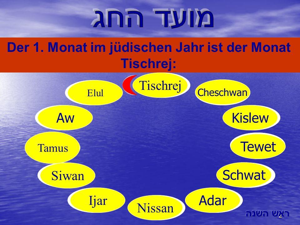 2 Aw Tamus Tewet Siwan Nissan Schwat Adar Kislew Cheschwan Ijar Elul Der 1. Monat im jüdischen Jahr ist der Monat Tischrej: Tischrej