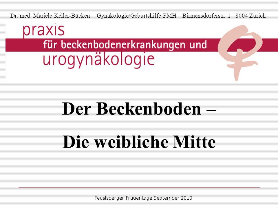 Feusisberger Frauentage September 2010 Dr. med. Mariele Keller-Bücken Gynäkologie/Geburtshilfe FMH Birmensdorferstr. 1 8004 Zürich Der Beckenboden – D