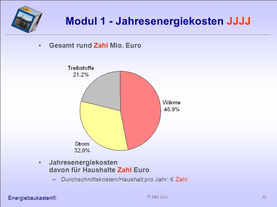 Energiebaukasten® 12TT.MM.JJJJ Modul 1 - Jahresenergiekosten JJJJ Gesamt rund Zahl Mio. Euro Jahresenergiekosten davon für Haushalte Zahl Euro –Durchs