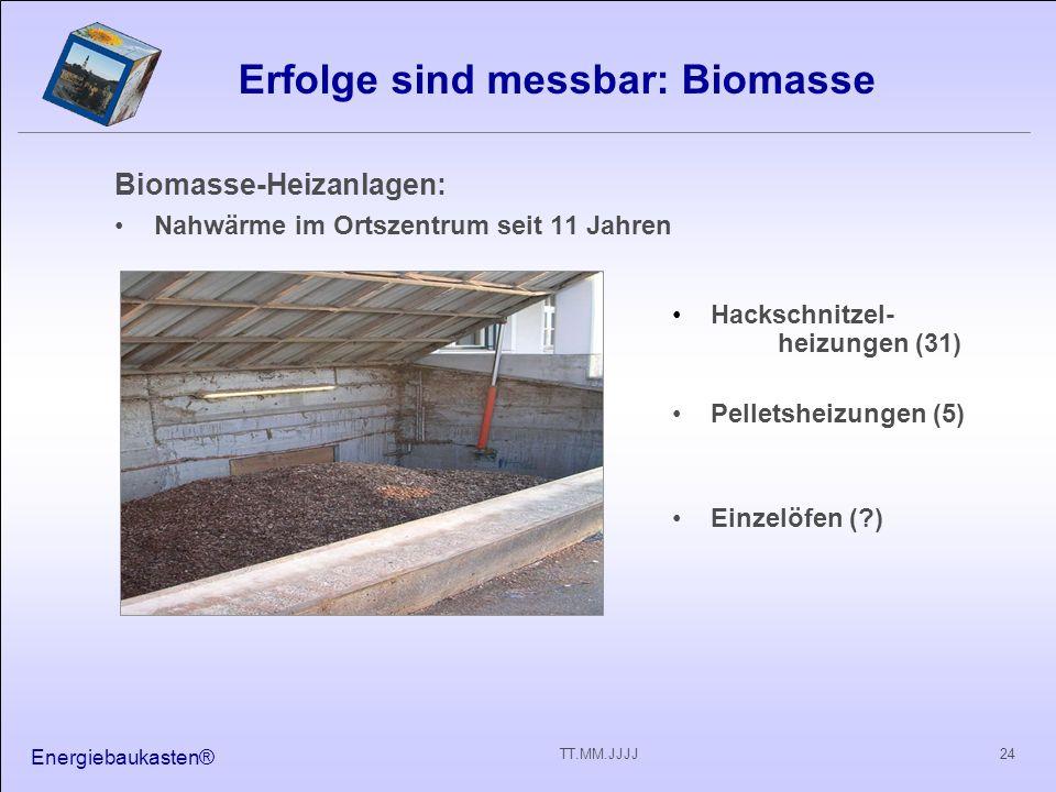 Energiebaukasten® 24TT.MM.JJJJ Erfolge sind messbar: Biomasse Biomasse-Heizanlagen: Nahwärme im Ortszentrum seit 11 Jahren Hackschnitzel- heizungen (31) Pelletsheizungen (5) Einzelöfen (?)