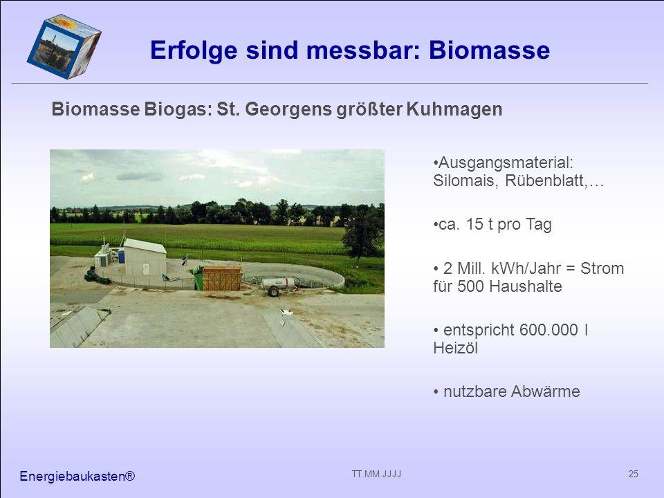 Energiebaukasten® 25TT.MM.JJJJ Erfolge sind messbar: Biomasse Biomasse Biogas: St. Georgens größter Kuhmagen Ausgangsmaterial: Silomais, Rübenblatt,…