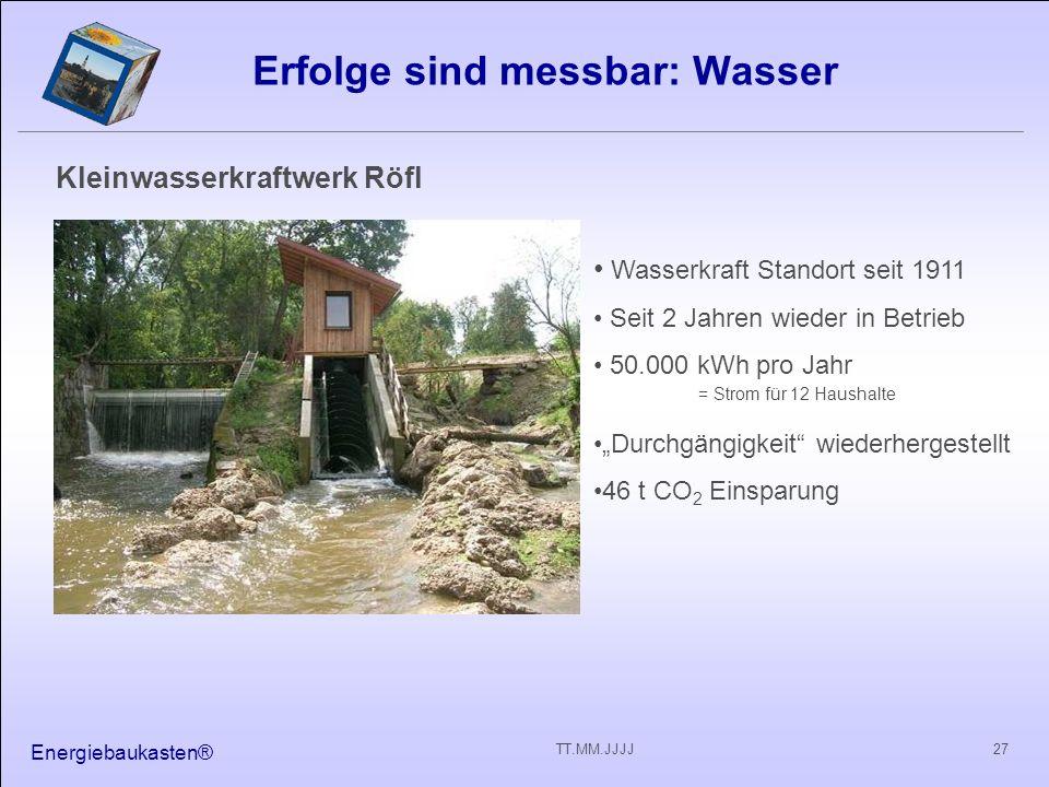 Energiebaukasten® 27TT.MM.JJJJ Erfolge sind messbar: Wasser Kleinwasserkraftwerk Röfl Wasserkraft Standort seit 1911 Seit 2 Jahren wieder in Betrieb 5