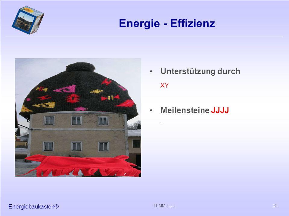 Energiebaukasten® 31TT.MM.JJJJ Energie - Effizienz Unterstützung durch XY Meilensteine JJJJ -
