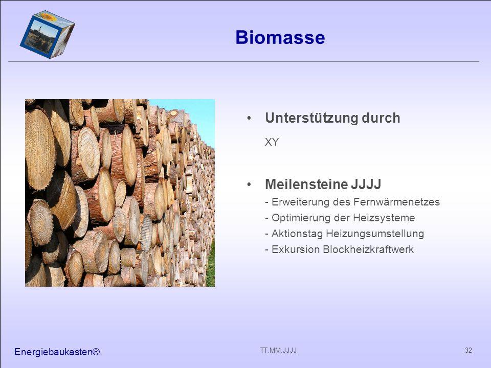 Energiebaukasten® 32TT.MM.JJJJ Biomasse Unterstützung durch XY Meilensteine JJJJ - Erweiterung des Fernwärmenetzes - Optimierung der Heizsysteme - Aktionstag Heizungsumstellung - Exkursion Blockheizkraftwerk
