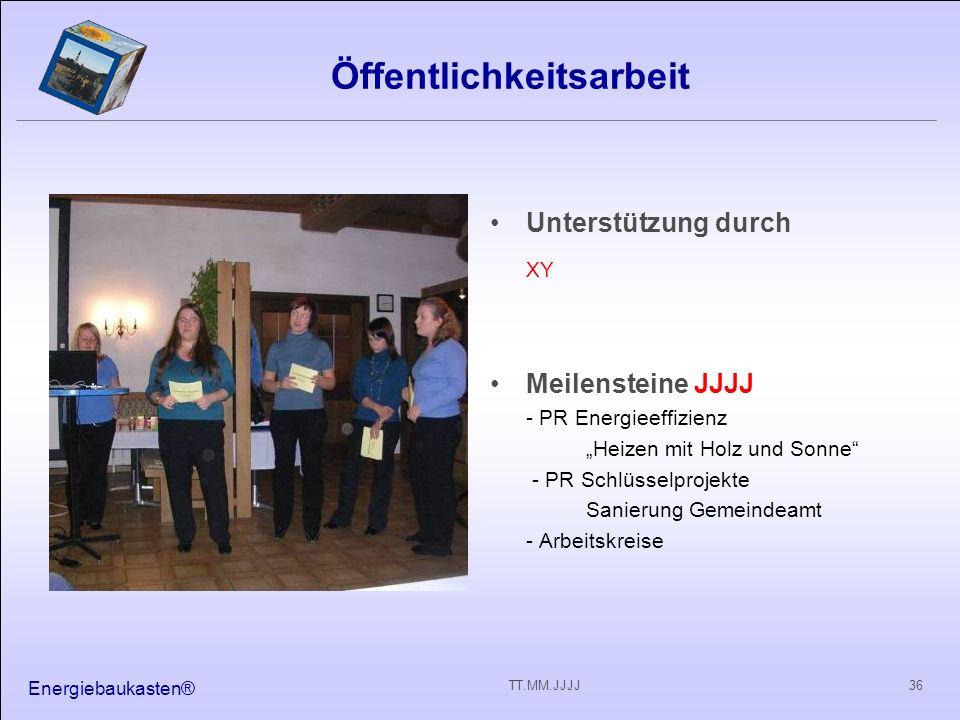 Energiebaukasten® 36TT.MM.JJJJ Öffentlichkeitsarbeit Unterstützung durch XY Meilensteine JJJJ - PR Energieeffizienz Heizen mit Holz und Sonne - PR Sch