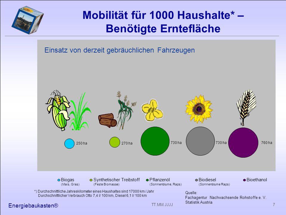Energiebaukasten® 7TT.MM.JJJJ Biogas (Mais, Gras) Synthetischer Treibstoff (Feste Biomasse) Pflanzenöl (Sonnenblume, Raps) Biodiesel (Sonnenblume Raps