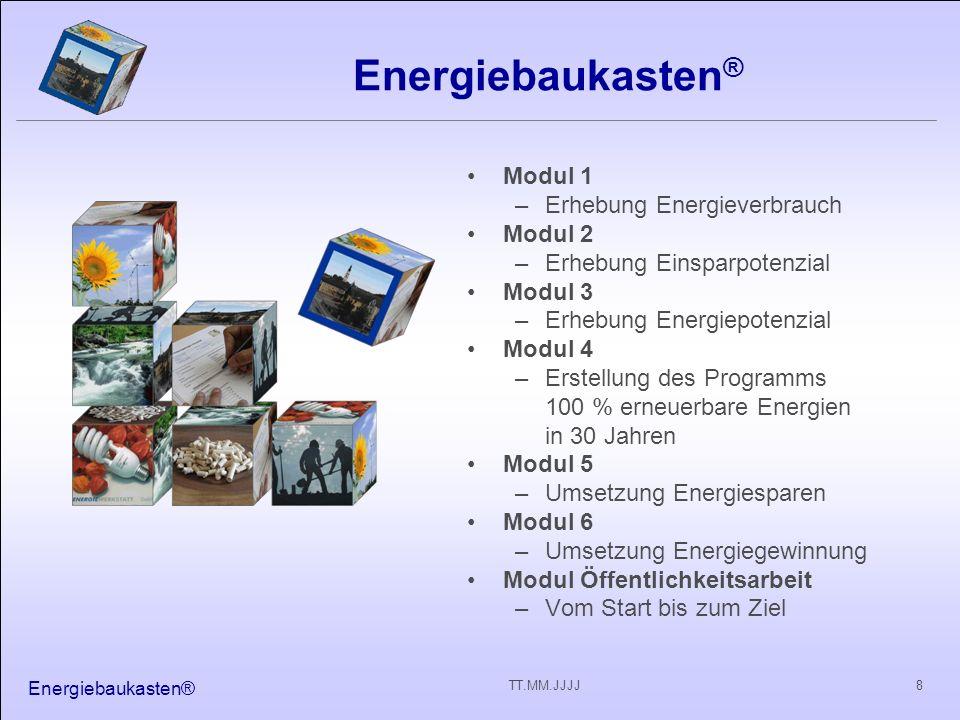 Energiebaukasten® 8TT.MM.JJJJ Energiebaukasten ® Modul 1 –Erhebung Energieverbrauch Modul 2 –Erhebung Einsparpotenzial Modul 3 –Erhebung Energiepotenzial Modul 4 –Erstellung des Programms 100 % erneuerbare Energien in 30 Jahren Modul 5 –Umsetzung Energiesparen Modul 6 –Umsetzung Energiegewinnung Modul Öffentlichkeitsarbeit –Vom Start bis zum Ziel