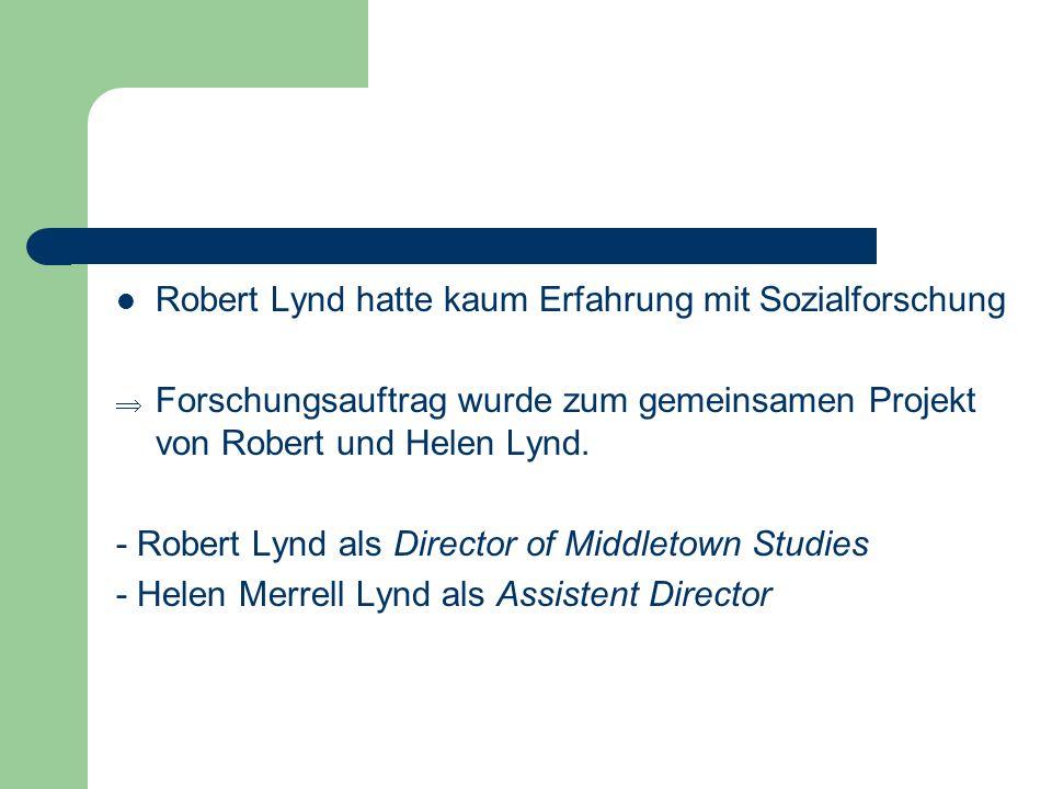 Robert Lynd hatte kaum Erfahrung mit Sozialforschung Forschungsauftrag wurde zum gemeinsamen Projekt von Robert und Helen Lynd. - Robert Lynd als Dire