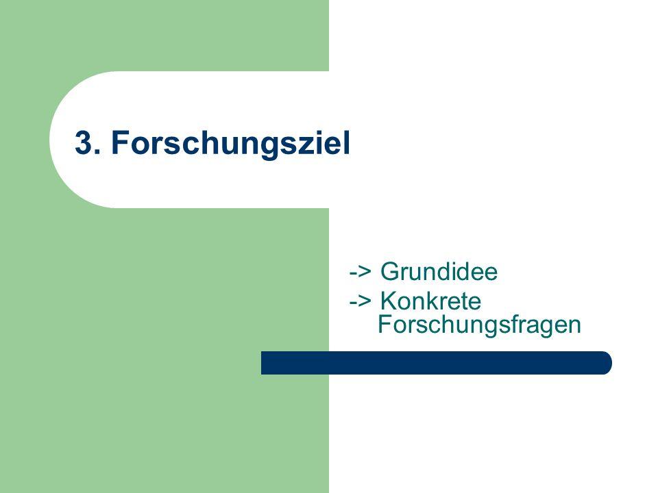3. Forschungsziel -> Grundidee -> Konkrete Forschungsfragen